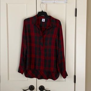 CAbi Red and gray plaid top